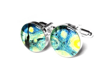 Vincent Van Gogh Starry Night Cufflinks, Fine Art Cufflinks, Gift for Dad, Fathers Day Gift, Resin Cufflinks, Grooms Gift, Gift for Him