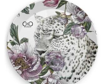 Leopard White/animalier Melamine plate 19 cm diam/Desk Organizer/Boat-Party-BBQ plate/Endless ChiC Svuotatasche animalier Melamine