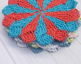 Designer Knit Dishcloth Instant Download Knitting Pattern Round Washcloth