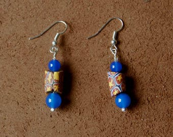 Clay Millefiori glass, and two blue agate beads tube bead earrings.