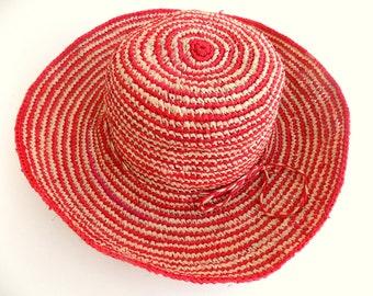 Straw Hat, woman, 58/59 cm, raffia hat, red, beige, crochet hat, Sun, hand made hand/straw hat for women, strohhut