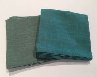 Gray Green and Turquoise Hand-Woven Handkerchiefs