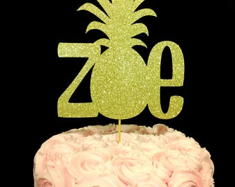 Pineapple Cake Topper, Pineapple birthday, Pineapple decorations, birthday pineapple decor, Pineapple Topper, Personalized pineapple topper