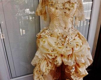 Victorian Wedding Dress Theather Movie Performance Costume Embroidered Beaded Wedding Dress Sz 12