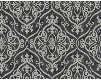 Y6150706 Light Taupe Black Interlocking Geometric Damask with Glitter Wallpaper - Yard