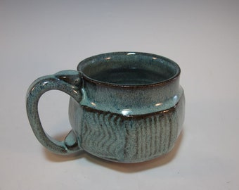 Coffee Mug Tea Pottery Faceted Blue Green Holds 14 ounces