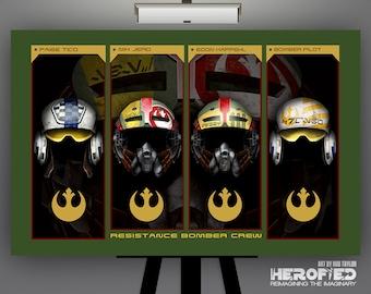 "Star Wars Inspired ""Resistance Bomber Crew"" 17X11 Art Print"