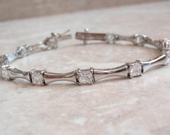 Bamboo Link Bracelet Princess Cut CZs Sterling Silver Vintage V0893