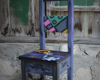 Nightmare Before Christmas Inspired-Baby-Nursery-Child-Chair-Art-Hand Painted-Jack Skellington-Sally Skellington-Baby-Boy-Girl