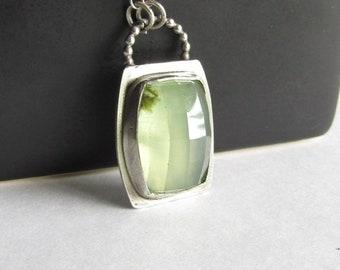 Prehnite Necklace with Pierced Back - Sea Green Stone - Sea Green Necklace - Prehnite Jewelry