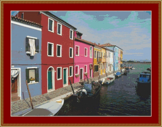 Burano Canal, Italy Cross Stitch Pattern /Digital PDF Files /Instant downloadable