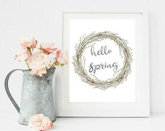Hello Spring Print, Rustic Wreath, Farmhouse Kitchen Decor, Home Printable, Rustic Home Decor, Printable Wall Art, Spring wreath,