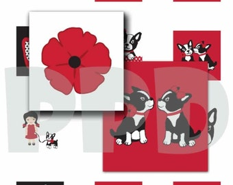 INSTANT DOWNLOAD - M2MG Poppy Love Scrabble Tile Collage Sheet