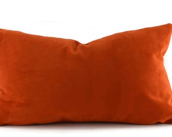 Orange Sueded Velvet Lumbar Throw Pillow Cover, Burnt Orange Velvet Pillow Cover, 12x20, 14x22, 10x20