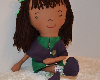 American Made Brown Cloth Doll