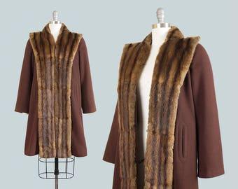 Vintage 1940s Coat   40s Fur Collar Brown Wool Fur Trim Warm Winter Swing Coat (small/medium)