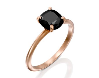 1.40 Carat Black diamond ring, special engagement ring, 14k solid rose gold, black solitaire ring, big black ring, gift for her