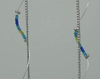 Long Aqua Swirl Earrings