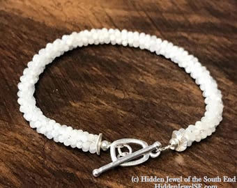 Crocheted, 2mm faceted Moonstone rope crocheted bracelet, stack-able bracelet, Moonstone gemstones, size 7 (C2)