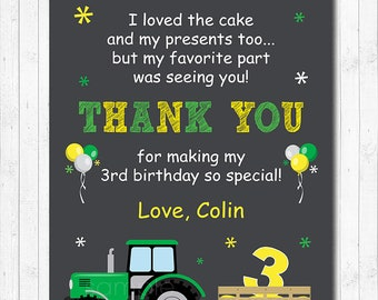 Tractor Thank you card, Tractor Thank you note, Tractor birthday, Tractor Party, chalkboard, printable