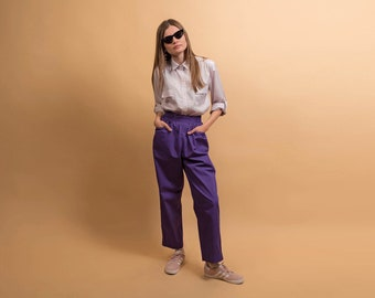 Purple Lounge Pants / Baggy Trousers / Vintage 80s Pants / Elasticized Waist Pants / Cotton Trousers Δ size: 25/26 W