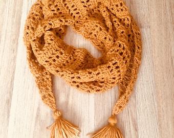 Crochet Mod Scarf / infinity scarf / wraparound scarf