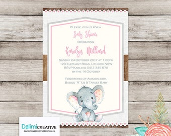 Baby Shower Invitation - Elephant Baby Shower Invitation - Shower Invitation - Printable Invitation - Personalised - Digital File!