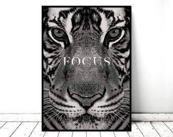 "Printable Art Poster ""Focus"" Tiger Monochrome Nature Wall Art. Printable *INSTANT DOWNLOAD PDF* A2, A3, A4, resizable"