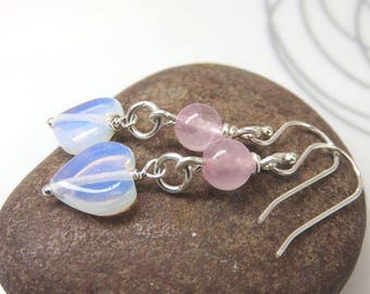 Opalite heart earrings - rose quartz dangle earrings - sterling silver earrings - sterling dangles - faux moonstone heart earrings - blue