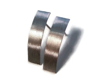 Bar Stud Earrings - Silver Stud Earrings - Curved Bar