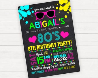 80s Birthday Invitations, 80's Birthday Invitations, 80s Birthday Invite, 80s Party Invitation, Neon Birthday Party, Glow Birthday Party