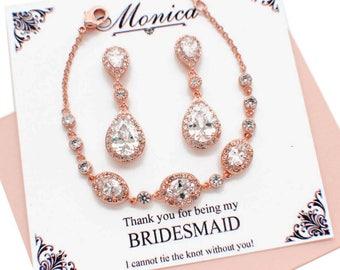 Personalized bridesmaid gift, Rose Gold bridesmaid earrings bracelet, CZ bridal jewelry set, bridesmaid jewelry set, rose gold wedding set