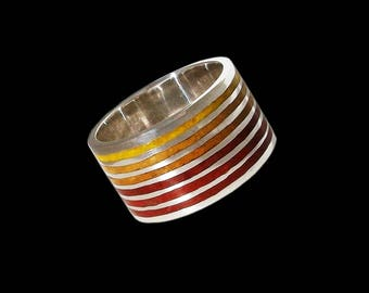 925 Solid Sterling Mosaic Autumn colors ring - ALL SIZES