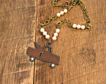 Rustic Winged Truck Camo and Pearls Necklace Swarovski pearl wheels camouflage country farm girl dirt road darlin darling southern pickup