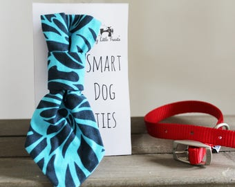 Turquoise and Navy Floral Handmade Smart Dog Tie