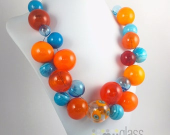 Orange and turquoise glass bubbles Hollow mouth blown beads Fine Silver earrings and findings. Necklace and earrings set Statement necklace