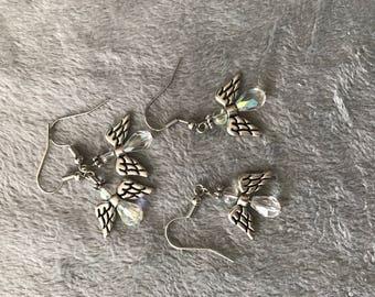 3/4 inch angel crystal earrings