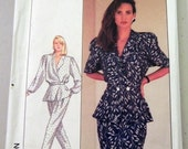 """1980s Jacket Top with Peplum, Pants, Skirt Sewing Pattern Simplicity 8431   Size 8 Bust 31.5"""" UNCUT FF"""