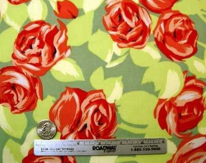 Amy Butler LOVE TUMBLE ROSES Apricot Floral Quilt Fabric - By the Yard Pink Coral Green Floral