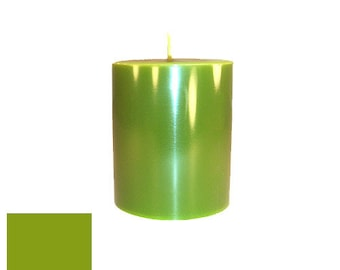 3 x 3.5 Yellow-Green Classic Hand-poured Unscented Pillar Candles Solid Color