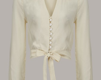 Clarice Blouse in Cream by The Seamstress of Bloomsbury | Authentic Vintage 1940's Style