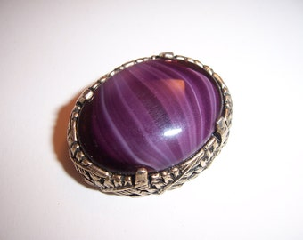 Vintage Signed Miracle Striped Glass Amethyst Cabochon With Leaves Brooch Pin