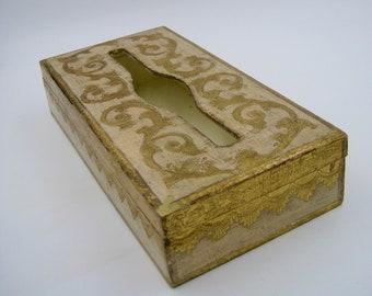 Florentine Style Wooden Tissue Box, Tole, good condition