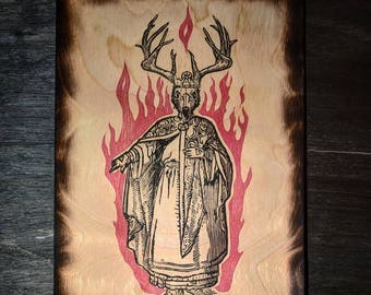 The Horned King - Pagan Occult Illuminati Conspiracy Hand Printed to Wood