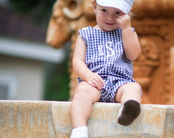 Baby Boys Navy Blue Gingham Jon Jon, Monogram included, Perfect Summer Outfit for Boys