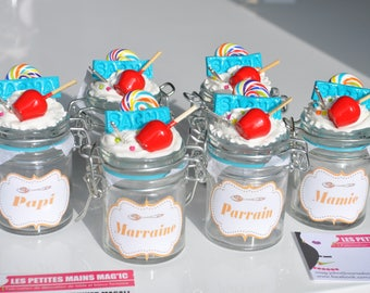 Mini jar candy jar perfect baptism gift personalized godmother Godfather Carnival