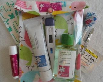 Medium Ouch Pouch First Aid Organizer for Baby Diaper Bag Car Purse (5x7 Ann Kelle Spring Birds Fabric) Fun Shower Gift under 10