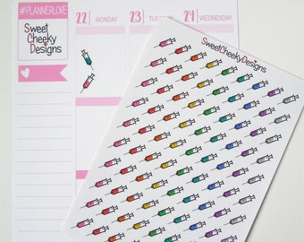 Syringe Stickers!  Perfect for Erin Condren Life Planner, MAMBI/Happy Planner, Plum Planner, Etc.