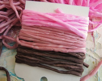 Hand Dyed Silk String - Pink Silk Cord - Jewelry cord - Chocolate Rose