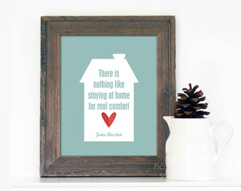 Jane Austen Poster Quote - Home Typographic Print - Blue Red Heart - Literary Quote Book Lover